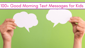 cute good morning text ideas with text clouds on green background