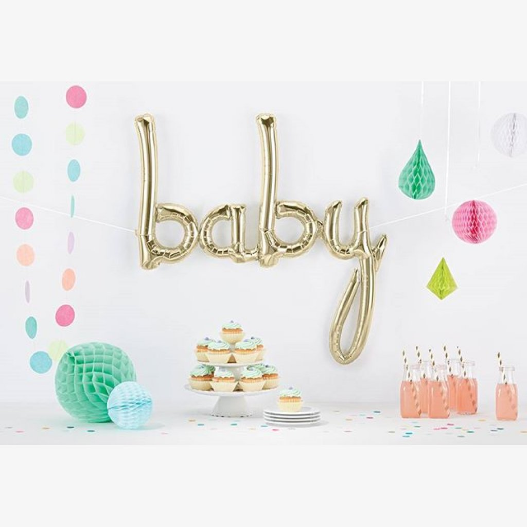 White Gold Baby Script Foil Balloon 46
