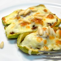 Courgette Boats Stuffed with Minced Meat, Bechamel and Mozzarella