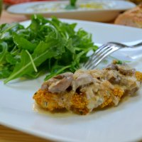 Baked Chicken Schnitzel with Dry White Wine and Porcini Mushroom Sauce