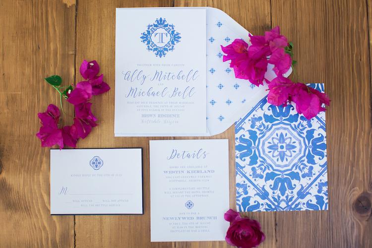 bougainvillea blue spanish wedding ideas