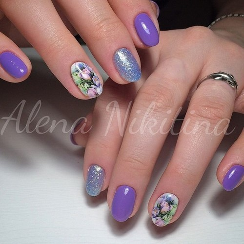 Fashionable manicure with sparkles and glitter: photos, the best ideas 17