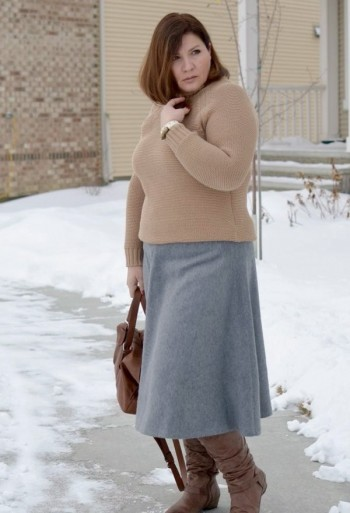 warm skirt with a blouse semi-fitting cut