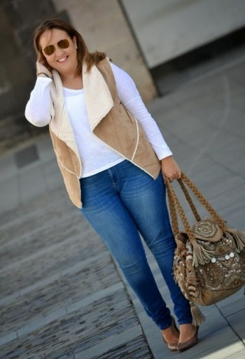 long sleeve with waistcoat and tight jeans