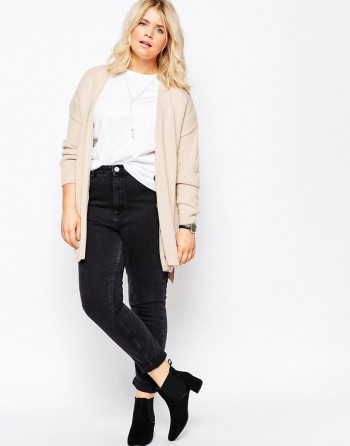 straight silhouette cardigan for a full figure