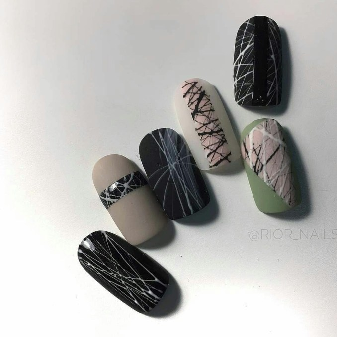 Manicure with a cobweb