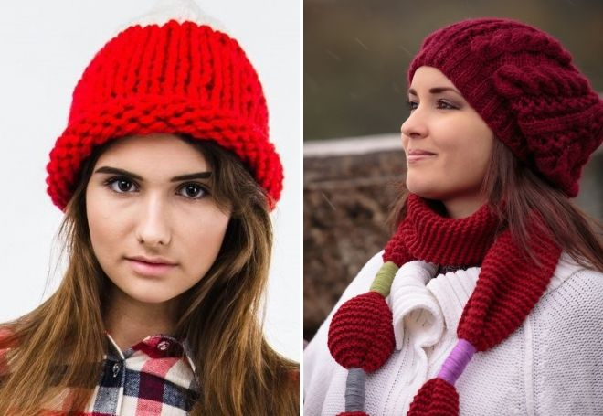 Big knit red hat