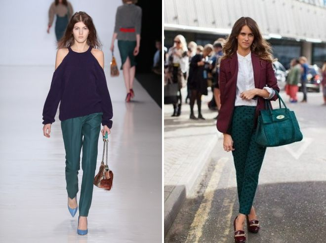 what to wear with dark green pants