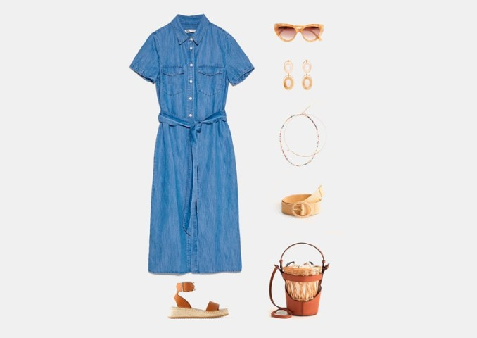Infographic: Outfit with below the knee denim dress