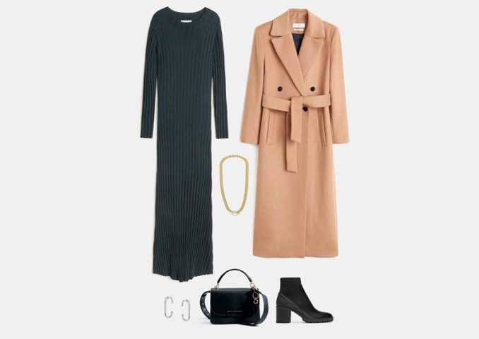Infographic: Outfit with a gray knitted midi dress