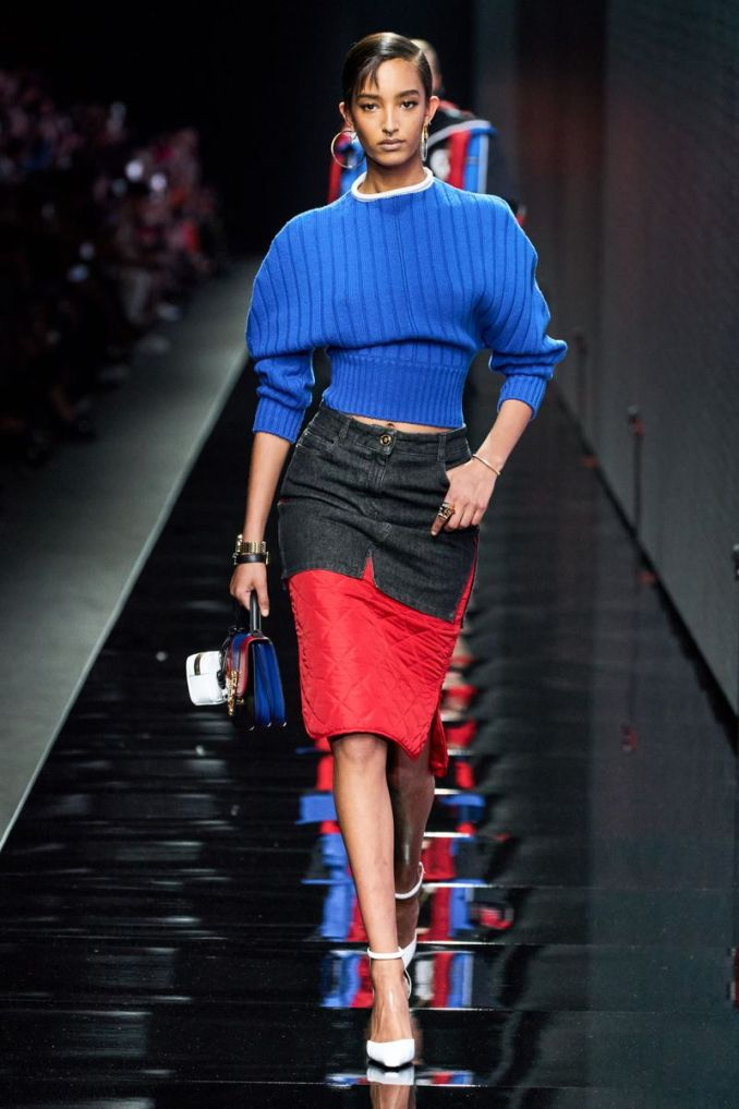 Fashionable quilted skirt fall-winter 2020-2021 from the Versace collection