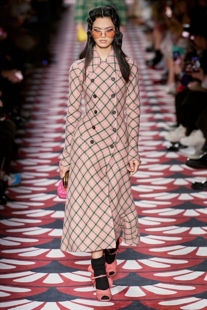 Fashionable plaid coat fall-winter 2020-2021 from the Miu Miu collection