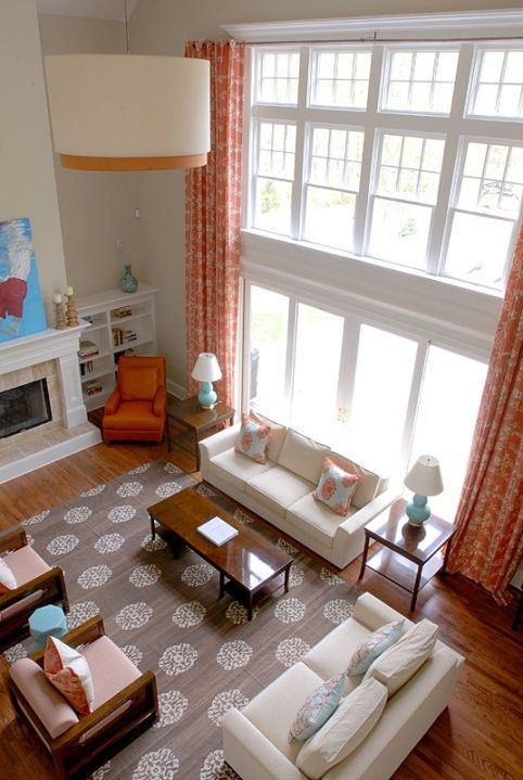 amusing two story living room | Window Treatments for Tall Windows--Tips & Inspiration ...