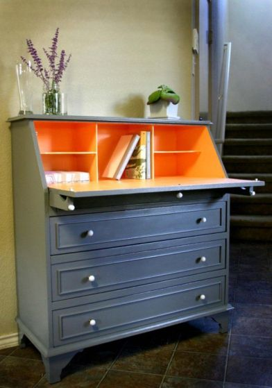 Orange and Grey Desk via Etsy