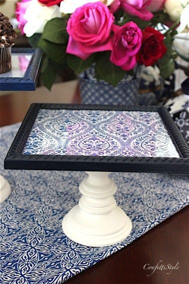 Swap It Like It's Hot--Picture Frame Turned Cake Stand by ConfettiStyle