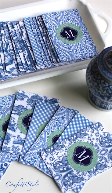 DIY Monogrammed Chinoiserie Playing Cards