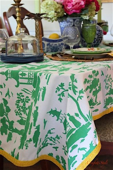 DIY Toile Tablecloth