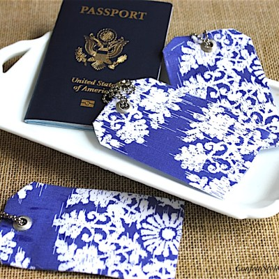 DIY Blue and White Luggage Tags and Handle Wraps