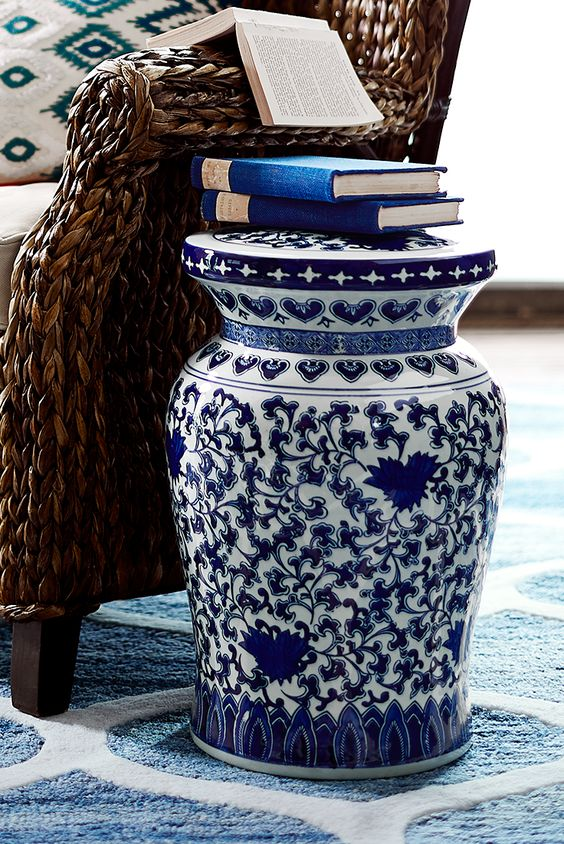 Product Inspiration Blue Amp White Garden Stools