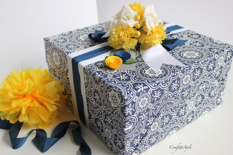 Blue & White Wedding Gift Wrap by ConfettiStyle