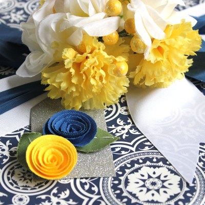 Gift Wrap Inspiration:  Blue, Yellow & Silver Wedding Wrap
