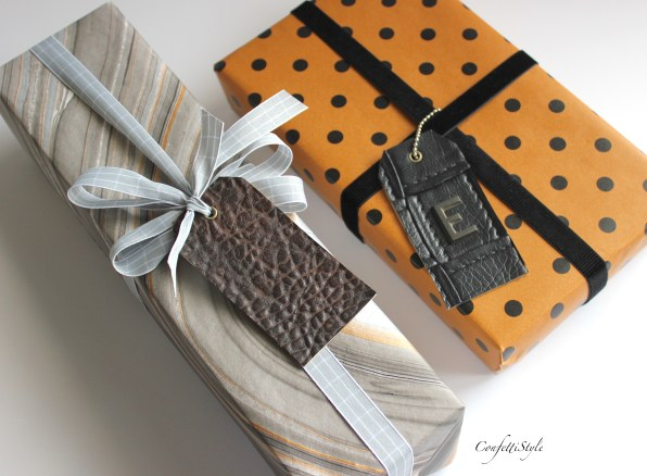DIY Leather Gift Tag by ConfettiStyle--Father's Day Gift Wrap