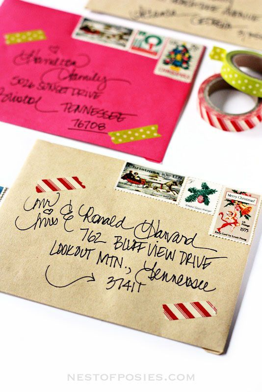 diy ideas to personalize your christmas card envelopes