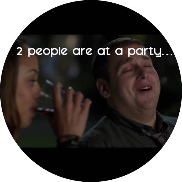 couple drinking and text two people are at a party...