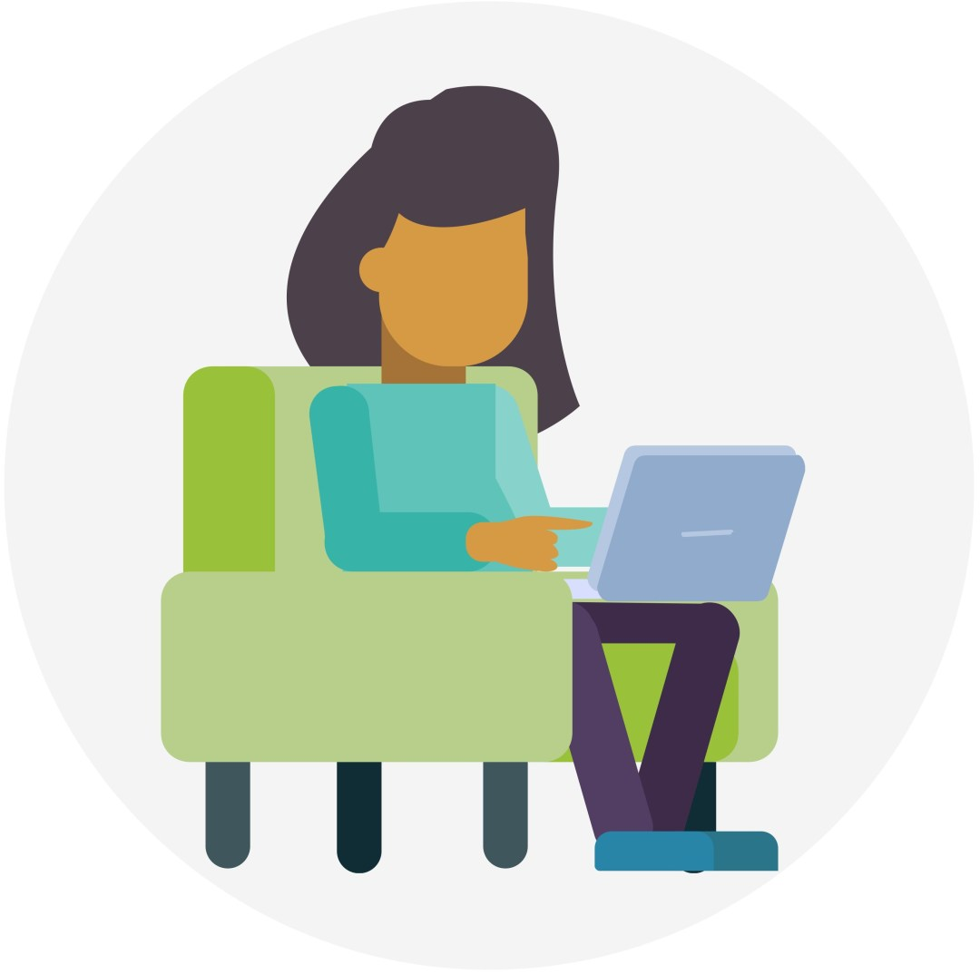 girl with computer icon