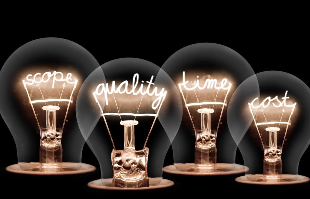 4 lightbulbs with filaments featuring wording, left to right reading, scope, quality, time and cost, against a black backdrop