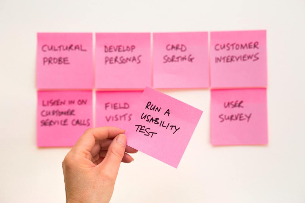 Post it notes to represent the user journey