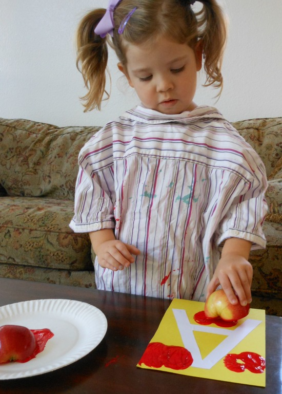 Apple stamping - Letter A activity