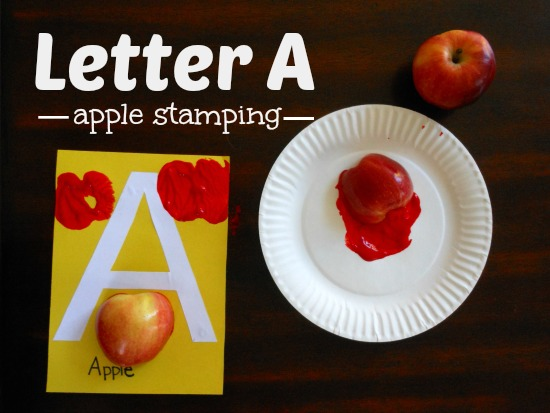 Letter A activity  - apple stamping