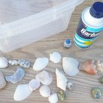 OCEAN sensory bin…shaving cream and shells