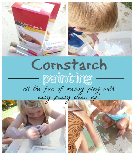 cornstarch painting. love how easy this is to clean up!