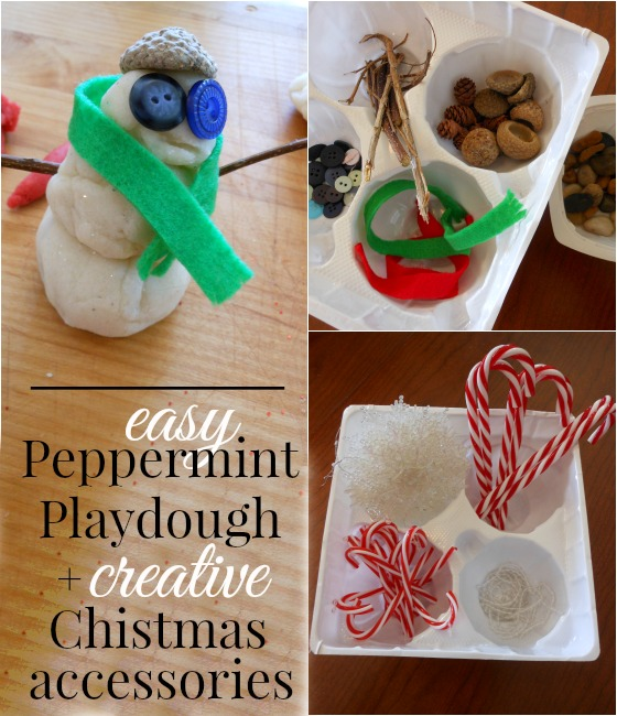 How to make peppermint playdough (and fun playdough accessories)