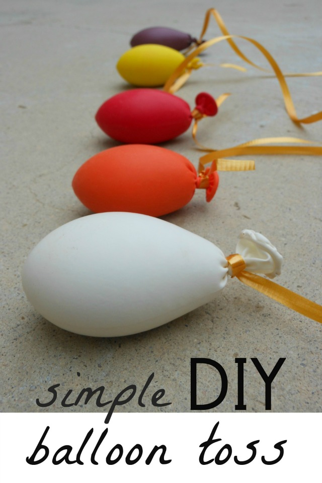 DIY balloon toss perfect for getting outside!