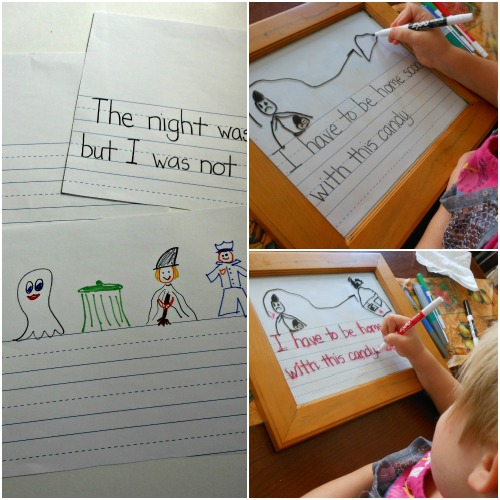 Halloween writing activity sheets. Easy to make and fun for the kids.