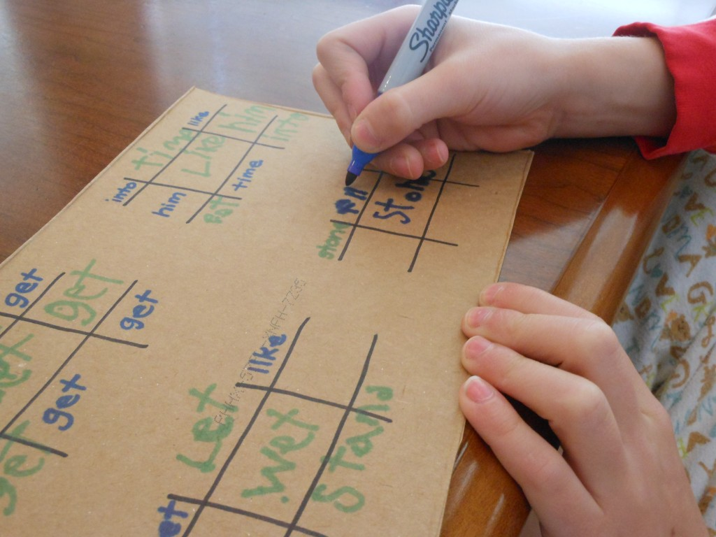 Tic Tac Toe for spelling and sight word practice.