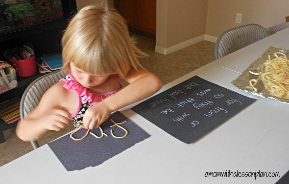 Sight word and spelling word practice with cooked spaghetti. (glad she included tips)