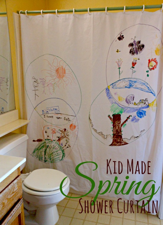 Spring drawing for kids on a shower curtain. What a fun decoration!  (1)
