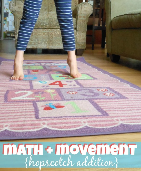 Hopscotch addition - love how she used math and movement for this!