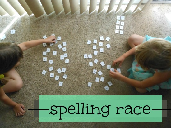 spelling race - great for practicing spelling