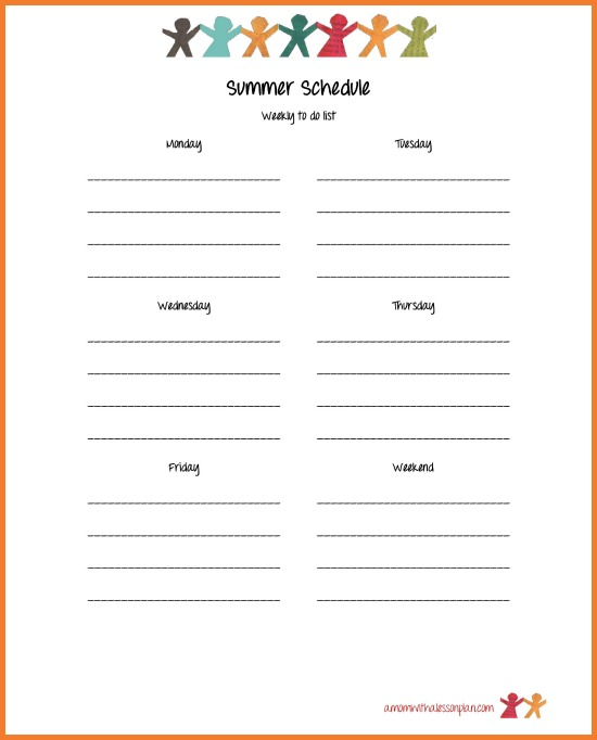 image relating to Weekly Goal Sheet referred to as Summer months Agenda for Small children and Summer time Intent Sheet (with cost-free