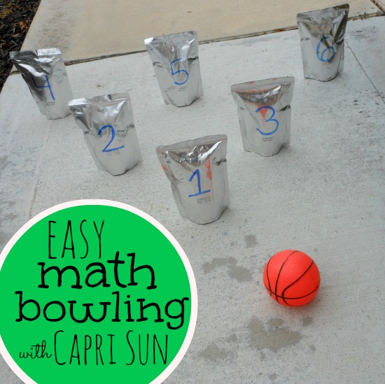 what a fun way to practice math! Math bowling with Capri Sun