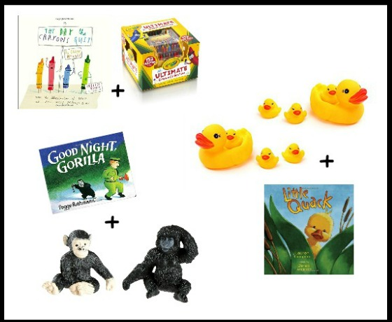 Book and toy combinations. What a fun gift idea!