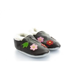 chaussons-fourres-en-cuir-souple-trio-de-fleurs-marron