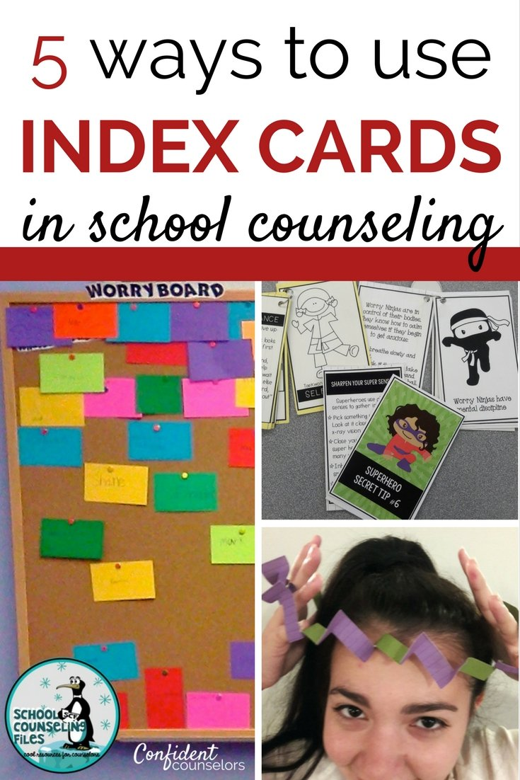 school counseling activities using common materials in your home or office. Use index cards to create mini books, growth mindset problem solving, power cards, smile files.