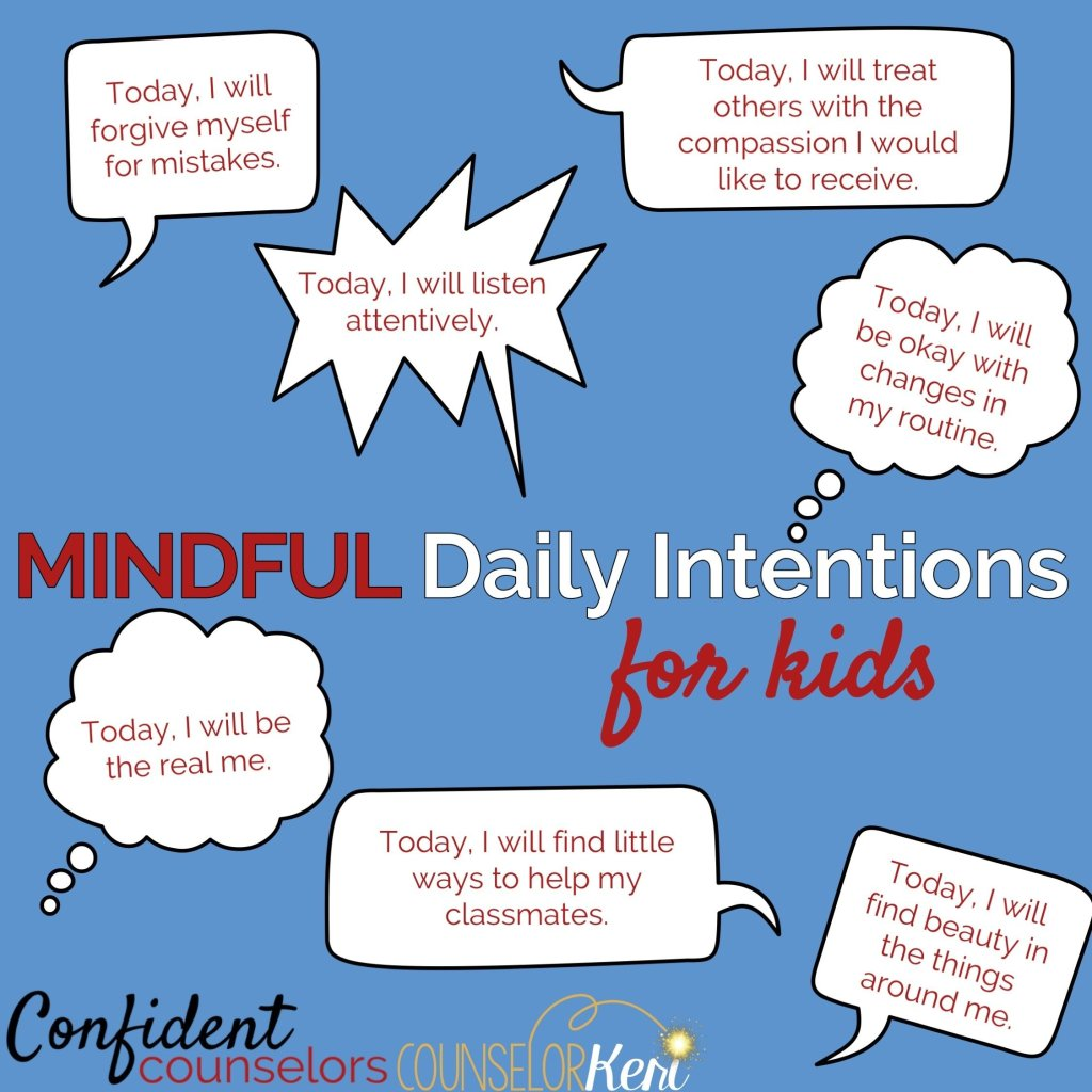 mindful daily intentions for kids.