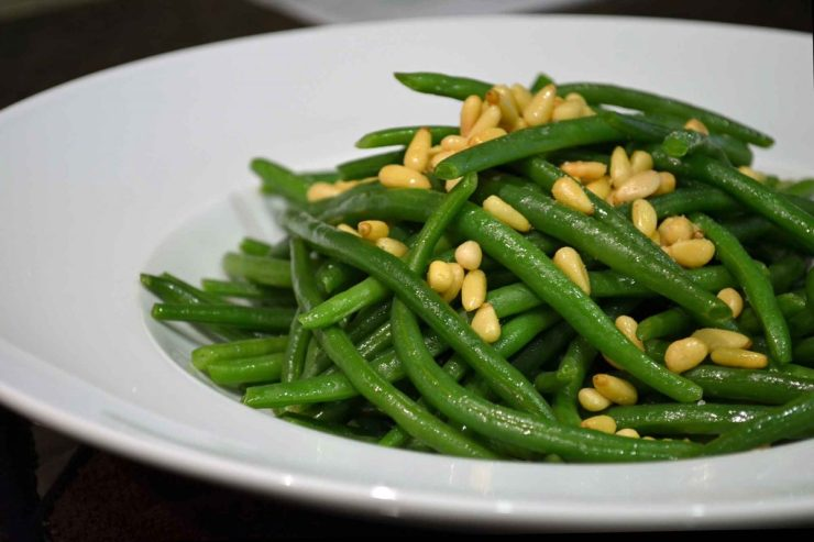Haricots Verts with Pignoli Recipe-Green Beans with Pine Nuts-Confident in the Kitchen-Jean Miller